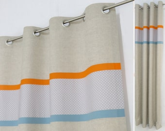 orange and gray shower curtain. Grey Orange Blue Curtain made from Linen with Organic Cotton Blackout  Lining and Tieback Gray White Nursery Tab Top Panel Bows