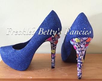 Glitter & button customised heels