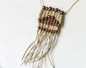 Woven Pendant Necklace, Boho Necklace Pendant, Boho, Handwoven Fiber Jewelry, Long Woven Pendant, Fiber Necklace, Woven Jewelry