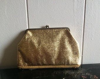 60s kisslock pouch | vintage metallic wallet