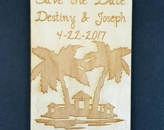 Wedding Favor Magnets, Tropical Theme, Hawaii Save the Date Magnets, Bride, Groom,