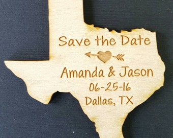 50 Wedding Favor, Texas Wedding Favor State Magnets - Bride, Groom, Gift, Save the Date, Rustic, Custom, United States Magnets