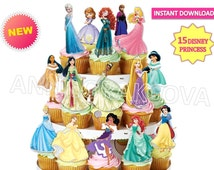 Printable Disney princess , Disney princess Cupcake Topper, Princess cupcakes toppers, digital file, party Favor Tags, You Print 80%OFF