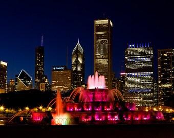 Chicago Skyline Photography - Chicago Sunset Photography - Chicago Fountain- Chicago Sunset - City Skyscrapers- Fine Art Print