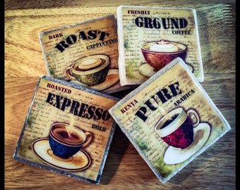 "4"" x 4""  Steaming Hot Coffee Stone Coasters (Set of 4) - Drink Coasters - Home Decor"