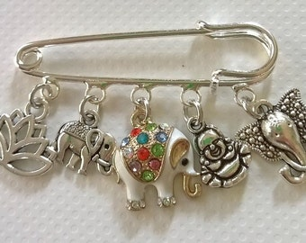 Thailand kilt pin brooch~buddha~Lotus~flower~Om keyring~elephant~Koh Samui~Thai keepsake