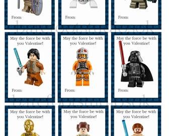Lego Star Wars Printable Valentines 8.5x11 Digital Instant Download