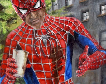 The Amazing Spiderman Needs Coffee - Superhero Spiderman Canvas Art Print