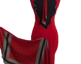 Red Ruffled Tango Dress with Open Back | Milonga Dress | Argentine Tango Clothes