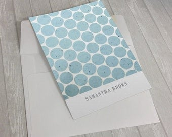 Personalized Custom Name Polka Dots Stationary Flat Notecards -  Set of 25