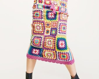 Maxi skirt boho crochet made to order granny squares multicoloured custom made