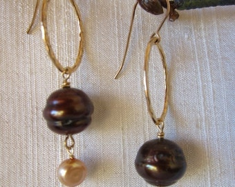 CLEARANCE SALE Brown and Gold Pearl 14K Gold Filled Handmade Earrings