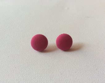 Hot Pink Button Earrings