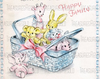 Retro New Baby Stuffed Animals In A Basket Card #446 Digital Download