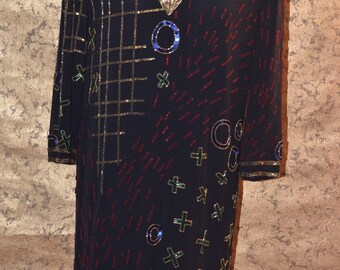 Vintage Estate Sequin Beaded Fabrice Silhouette Art Dress