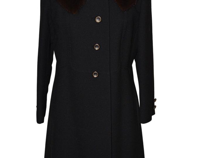 Vintage Estate Denise Originals  by Pierre Black Fur Collar Coat
