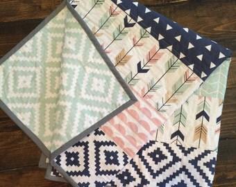 Navy Aztec, Pink/Navy/Mint/Tan Arrows,quilt, modern quilt, baby quilt