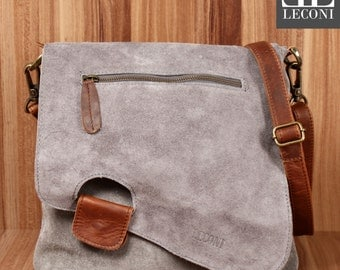 LECONI shoulder bag leather bag ladies shoulder bag suede grey LE3027-VL