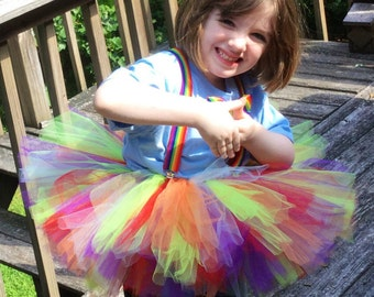 Rainbow Clown Tutu, Clown Tutu Dress, Tutu, Clown Tutu Costume, Rainbow Clown Set, 3 Piece set, Halloween Costume, Ready To Ship Now