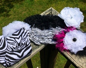 Pink Zebra Leg Warmers, Zebra Diaper Cover, Leg Warmer Set, Zebra Leg Warmers, Hot Pink & Black Feather StretchBand, Back To School