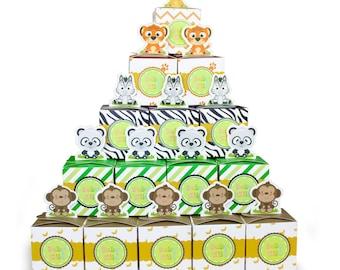Safari Baby Shower Favor Boxes Animal World Candy Boxes Tiger,Giraffe,Monkey,Panda,Lion,Zebra