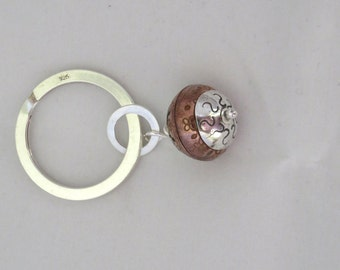 Periapt keyring, sterling silver and copper periapt bead on sterling silver keyring.