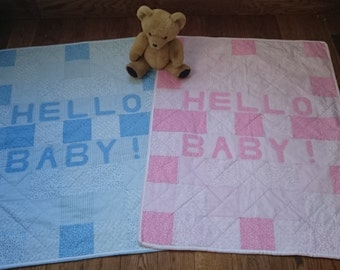 PDF cot quilt, beginners' quilt pattern: 'Hello Baby!' by Amanda Jane Textiles, instant download