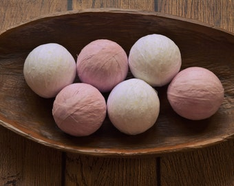 Pale Pink and White Decorative Fabric Rag Balls, Fabric Chotchkies, fabric balls, rag balls, bowl & vase fillers-set of six 3 inch balls