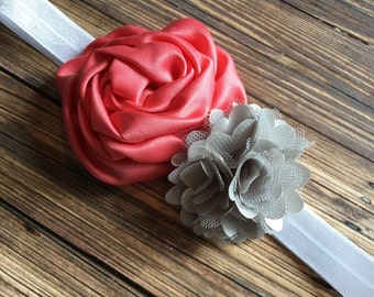 Coral Satin Rolled Rosette and Gray Satin Puff Flower Headband, Newborn Headband, Baby Headband, Toddler Headband, Girls Headband