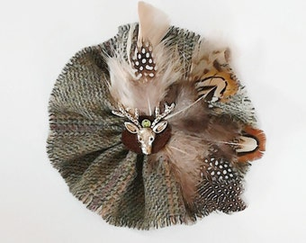 Country Tweed Brooch Outlander Weathered Light Green Fringes Guinea Fowl Feather Crystal  Centre