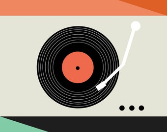 retro record player illustration art print, modern colorful art, record art