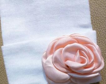 Newborn Hospital White Beanie w/ Peach Silk Flower. Hospital Beanie. Simple and Sweet. Great Gift. Perfect Going Home Hat!