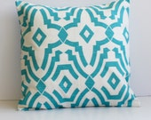 Chevelle Costal Blue Pillow Cover- Costal Blue and White Decorative Couch Pillow 16x16- Ready to Ship
