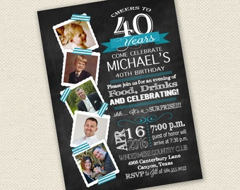 40th birthday invite | Etsy