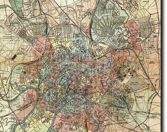 Historic Map of Moscow (Russia) from 1917 (Reproduction) Photo Poster Print Gift