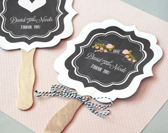 Personalized Chalkboard Wedding Paddle Fans (Set of 24)