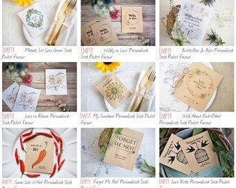 10 Personalised Seed Packet Favour Envelopes