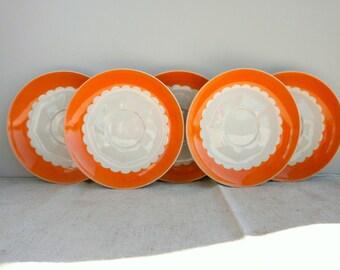 Vintage russian orange saucers, Soviet Union small plates, RPR Riga porcelain USSR 1970s