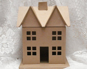 Large Paper Mache House Unfished DIY 12 Inch