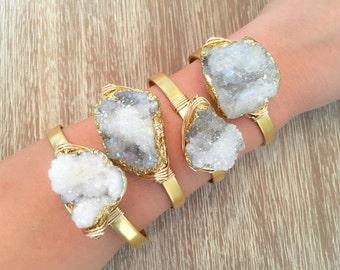 Druzy White Rainbow Wire Wrapped Gold Cuff/ Druzy Cuff/ Boho Cuff// Southern Wire/ Quartz Jewlery/ Geode Bracelet