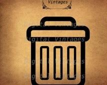 Trash Black Icon Idea Logo Retro Antique Vintage illustration Digital Image Download Printable Graphic Clip Art 300dpi svg jpg png