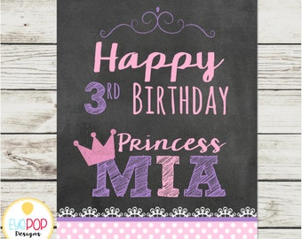 CHALK PRINCESS Birthday Welcome Sign * Princess Party * Pink Purple Chalkboard * Party Decor * Digital Printable