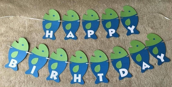 fishing fish happy birthday banner can be personalized with