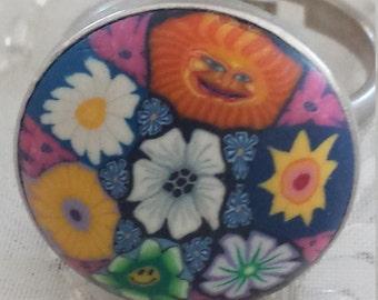 Flower Power Hippie Polymer Clay Ring