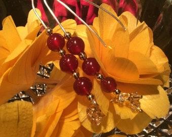 Red Carnelian Earrings  Gold Beads  Sterling Silver & Swarovski Crystals Handmade Jewelry