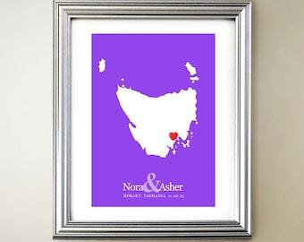 Tasmania Custom Vertical Heart Map Art - Personalized names, wedding gift, engagement, anniversary date