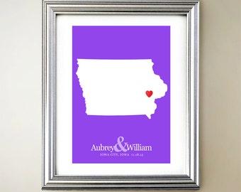 Iowa Custom Vertical Heart Map Art - Personalized names, wedding gift, engagement, anniversary date