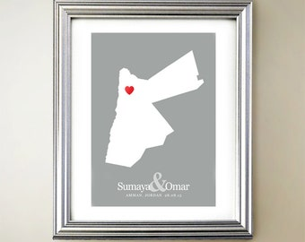 Jordan Custom Vertical Heart Map Art - Personalized names, wedding gift, engagement, anniversary date