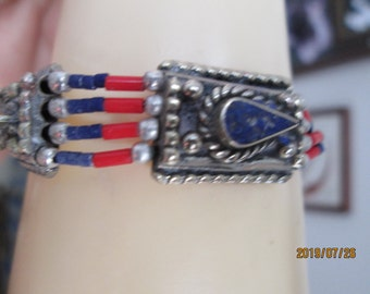 "Tibetan Silver Genuine Lapis Lazuli and Red Coral Bracelet w/925 Open Rings and Lobster Claw, 7 3/4"" Long, Wt. 23.7 Grams"