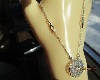 Handcrafted Genuine  .10ctw  SI1 Diamond .925 Sterling Silver w/ 14KT Gold Lavalier Necklace Signed WAN, 19 Inches, Wt. 3.9g